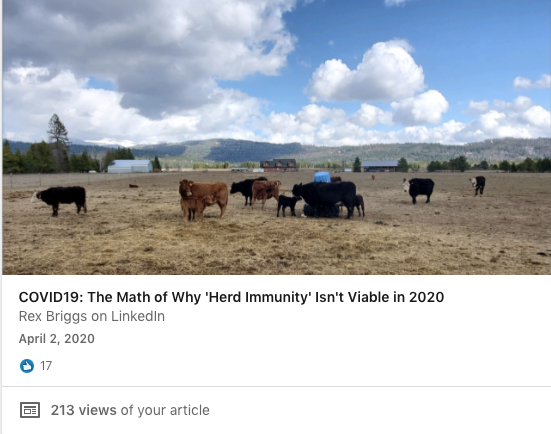 COVID-19: THe Math of Why Herd Immunity Isn't Viable in 2020